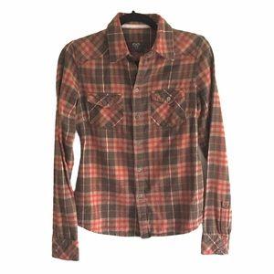 ARITZIA Plaid Flannel Button Down Shirt Brown Red